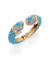 Kenneth Jay Lane | Blue Cabochon & Pave Animal Cuff Bracelet | Lyst