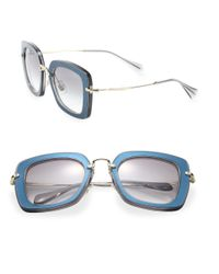 Miu Miu - Blue 52mm Acetate & Metal Pillow Sunglasses - Lyst