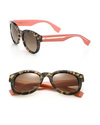 Fendi | Red Colorblocked Round Sunglasses | Lyst