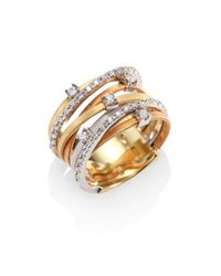 Marco Bicego | Metallic Goa Diamond, 18k White, Rose & Yellow Gold Seven-strand Ring | Lyst