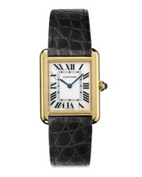 Cartier | Metallic Tank Solo Small 18k Yellow Gold & Alligator Strap Watch | Lyst