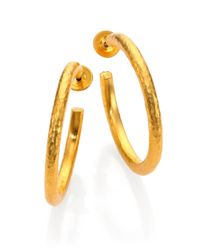 Gurhan | Metallic Edifice 24k Yellow Gold Classic Hoop Earrings/1.25 | Lyst