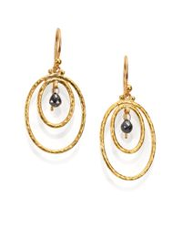 Gurhan - Metallic Hoopla Black Diamond & 24k Yellow Gold Drop Earrings - Lyst