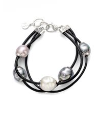 Majorica | Black 12mm Multicolor Baroque Pearl, Sterling Silver & Leather Cord Multi-row Bracelet | Lyst