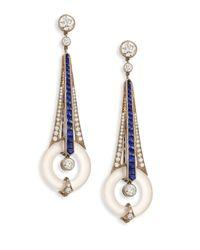 Fred Leighton | Metallic Diamond, Sapphire & Rock Crystal Drop Earrings | Lyst