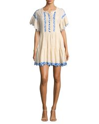 Free People - White Santiago Embroidered Mini Dress - Lyst