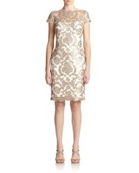 Tadashi Shoji - Natural Sequined Lace Sheath Dress - Lyst