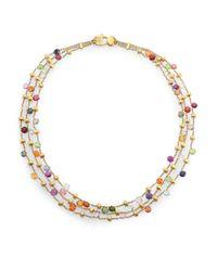 Marco Bicego | Metallic Paradise Semi-precious Multi-stone & 18k Yellow Gold Three-row Necklace | Lyst