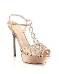 Sergio Rossi | Pink Vague Swarovski Crystal T-strap Sandals | Lyst