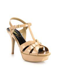 Saint Laurent | Natural Tribute Patent Leather Platform Sandals | Lyst