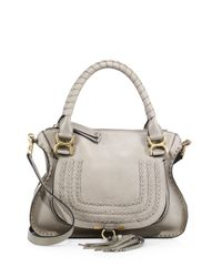 Chloé - Gray Marcie Large Leather Satchel - Lyst
