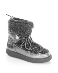 Moncler | Metallic Ynnaf Lace Front Leather Sneaker Booties | Lyst