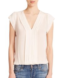 Joie - White Marcher Silk Pintuck-pleated Blouse - Lyst