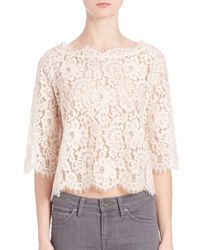 Joie | Natural Elvia Lace Top | Lyst