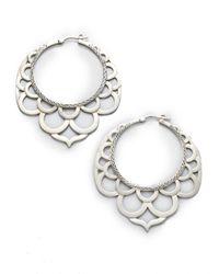 John Hardy | Metallic Naga Sterling Silver Large Lace Hoop Earrings/2.2 | Lyst