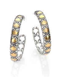 John Hardy | Metallic Naga 18k Yellow Gold & Sterling Silver Hoop Earrings/1.15 | Lyst