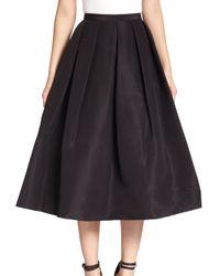 Tibi | Black Silk Faille Pleated A-line Skirt | Lyst