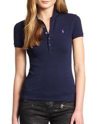 Polo Ralph Lauren   Blue Skinny Stretch Polo Shirt   Lyst