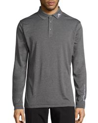 J.Lindeberg | Gray Heathered Long Sleeve Golf Polo Shirt for Men | Lyst