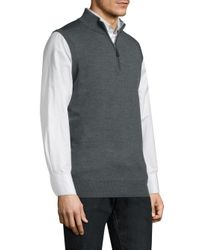 Peter Millar - Gray Merino High Neck Vest for Men - Lyst
