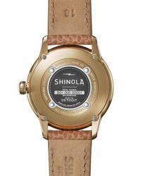 Shinola - Metallic The Gail Pvd Gold & Leather Strap Watch - Lyst