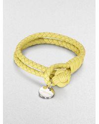 Bottega Veneta - Yellow Intrecciato Leather Double-row Wrap Bracelet - Lyst