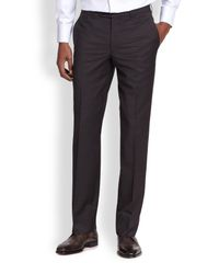 Saks Fifth Avenue - Black Wool Micro Check Trousers for Men - Lyst