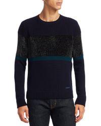 Emporio Armani - Blue Chenille Crewneck Colorblock Wool Sweater for Men - Lyst