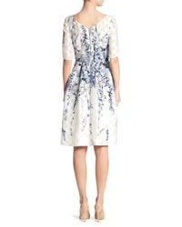 Lela Rose | White Elbow Sleeve Floral Dress | Lyst