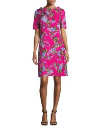 ESCADA - Pink Floral Jacquard Sheath Dress - Lyst