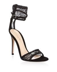 Gianvito Rossi - Black Ankle Cuff Leather Sandals - Lyst