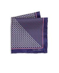Ferragamo - Blue Elephant & Medallion Printed Silk Pocket Square - Lyst