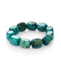 Nest - Blue Teal Agate Square Beaded Stretch Bracelet - Lyst