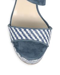 Jimmy Choo - Blue Woven Wedge Sandals - Lyst