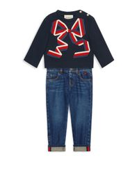 Gucci - Blue Baby Girl's Bow Sweatershirt - Lyst