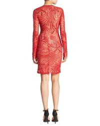 Naeem Khan - Red Long Sleeve Beaded Dress - Lyst