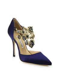 Manolo Blahnik - Blue Zullin Satin Jeweled D'orsay Pumps - Lyst