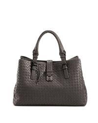 Bottega Veneta - Gray Roma Medium Intrecciato Leather Satchel - Lyst
