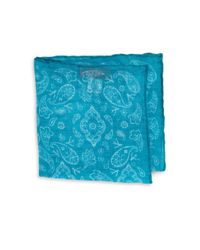 Isaia - Blue Fazzoletti Printed Linen Pocket Square for Men - Lyst