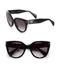 Prada - Black Round Cat's-eye Acetate Sunglasses - Lyst