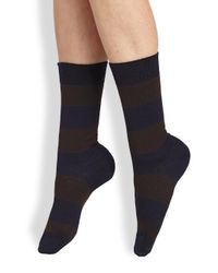 Maria La Rosa - Blue Striped Mid-calf Socks - Lyst