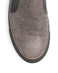 Balmain - Black Textured Leather Slip-ons for Men - Lyst