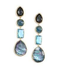 Ippolita   Blue Rock Candy? 18k Yellow Gold Four-stone Linear Drop Earrings   Lyst