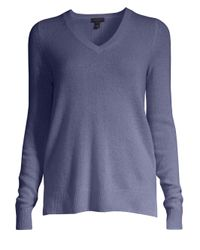 Saks Fifth Avenue Blue Women's Collection Featherweight Cashmere V-neck Sweater - Navy
