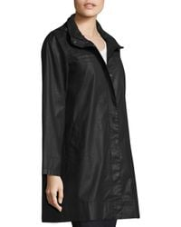 Eileen Fisher - Black Hooded A-line Jacket - Lyst