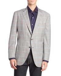 Isaia - Gray Windowpane Button-front Sportcoat for Men - Lyst