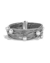David Yurman - Metallic Sixteen-row Chain Bracelet With Pearls - Lyst