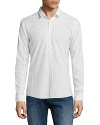 HUGO - White Ero3 Arrow Print Shirt for Men - Lyst
