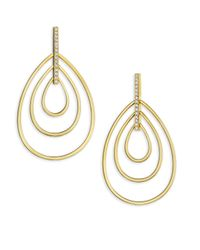 Carelle - Metallic Moderne Diamond & 18k Yellow Gold Trio Teardrop Earrings - Lyst