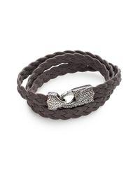 Stephen Webster - Gray Braided Leather Bracelet for Men - Lyst
